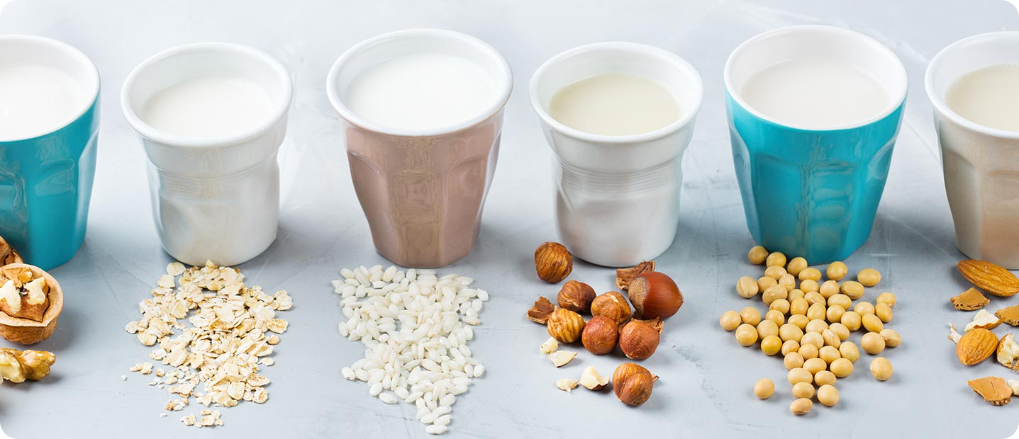Examples of different dairy-free milk substitutes