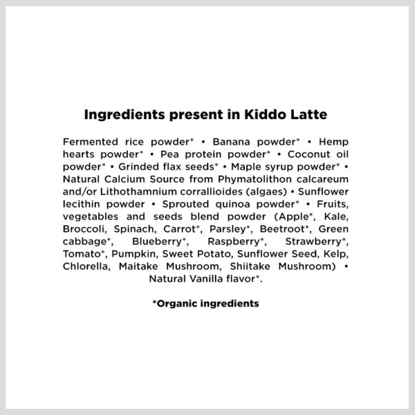 Kiddo Latte ingredients in english