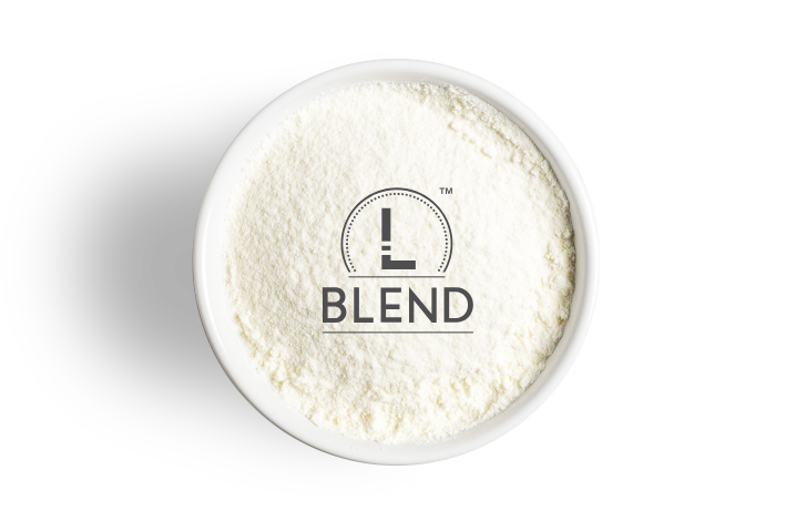 L blend logo over baby milk powder